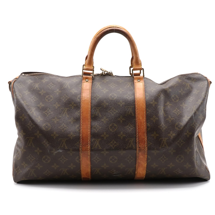 Louis Vuitton Keepall 50 Bandouliere in Monogram Canvas and Vachetta Leather