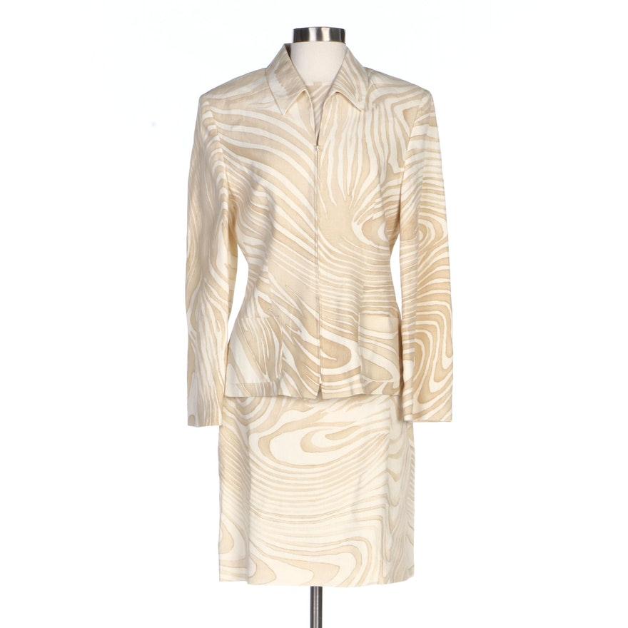 Laurèl Zebra Print Skirt Suit Ensemble in Silk and Linen, Vintage
