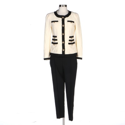 Moschino Cheap and Chic Bouclé Knit Jacket and Vince Trousers