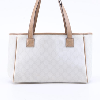 Gucci GG Supreme Coated Canvas and Tan Leather Tote