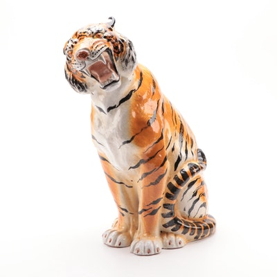 Italian Hand-Painted Ceramic Bengal Tiger Statuette, Mid-20th Century