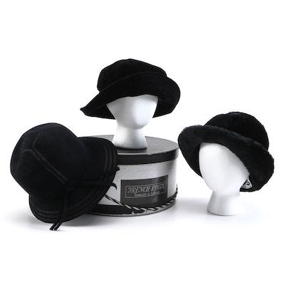 Betmar, Deborah Rhodes and Kaps Bucket Style Black Hats with Hat Box