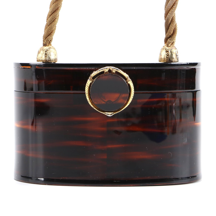 Wilardy Lucite Oval Box Purse with Twisted Rope Metal Mesh Handle