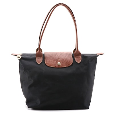 Longchamp Le Pliage Tote in Black Nylon and Brown Textured Leather