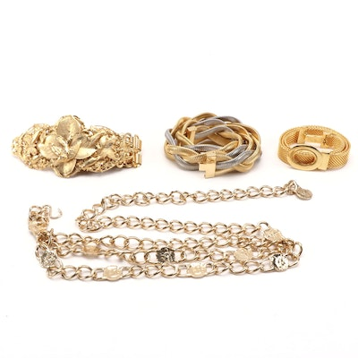 Gold and Silver Tone Chain and Mesh Belts Including Accessory Accent NYC