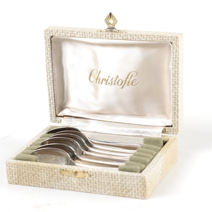 "Christofle ""Palme"" Silver Plate Demitasse Spoons in Presentation Box"