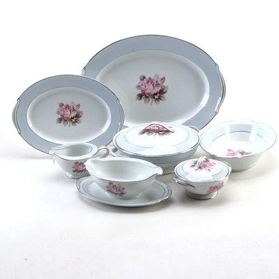 Noritake Floral Porcelain Serveware, Mid-20th Century