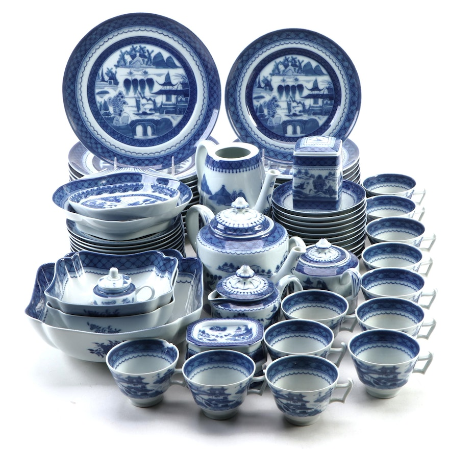 "Mottahedeh ""Blue Canton"" Ceramic Dinnerware and More, Late 20th Century"