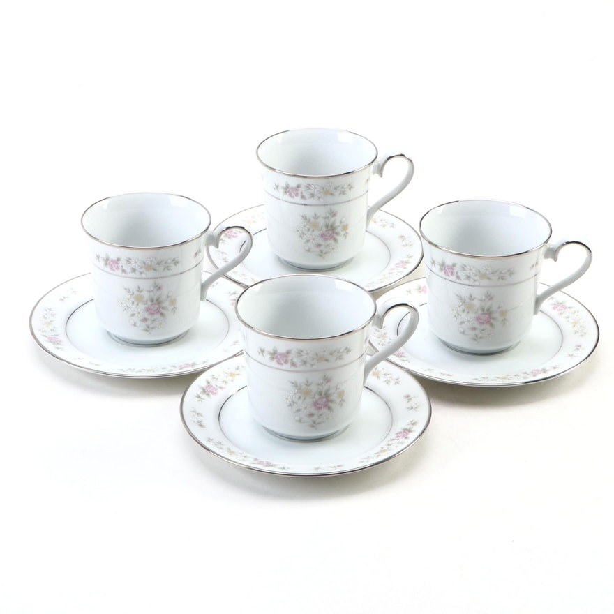 """Lenox Bouquet Collection """"Meadow Pinks"""" Porcelain Cup and Saucer Set"""