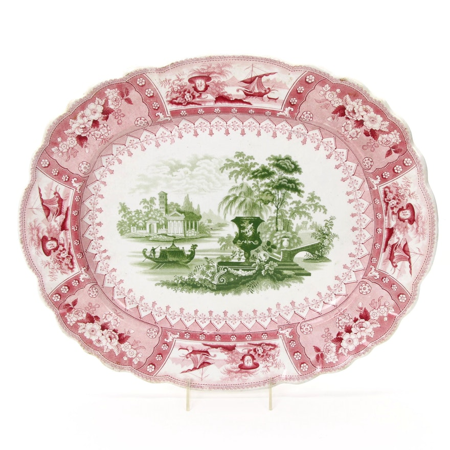 "Thomas Mayer ""Canova"" Bi-Color English Transferware Ironstone Platter, 1836-1838"