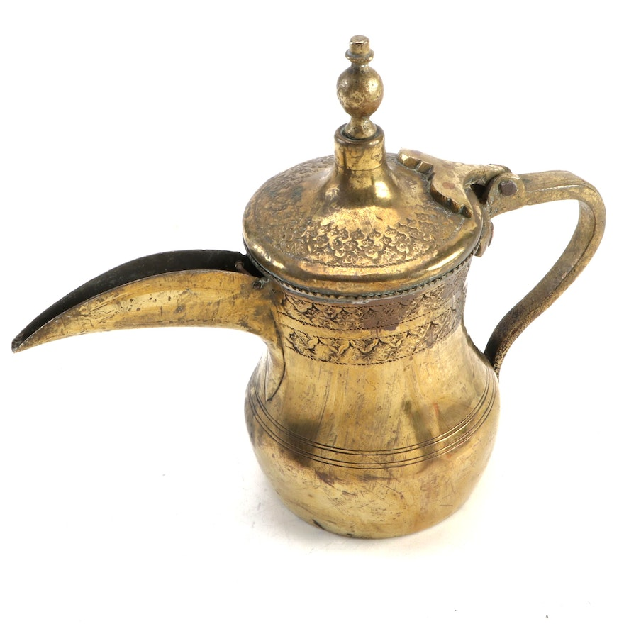 Chased Brass Dallah Coffee Pot, Antique