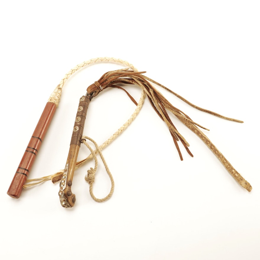Decorative Wooden and Leather Bullwhips, Mid to Late 20th Century