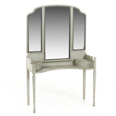 American Colonial Style Grey-Painted Vanity Table, Mid-20th Century