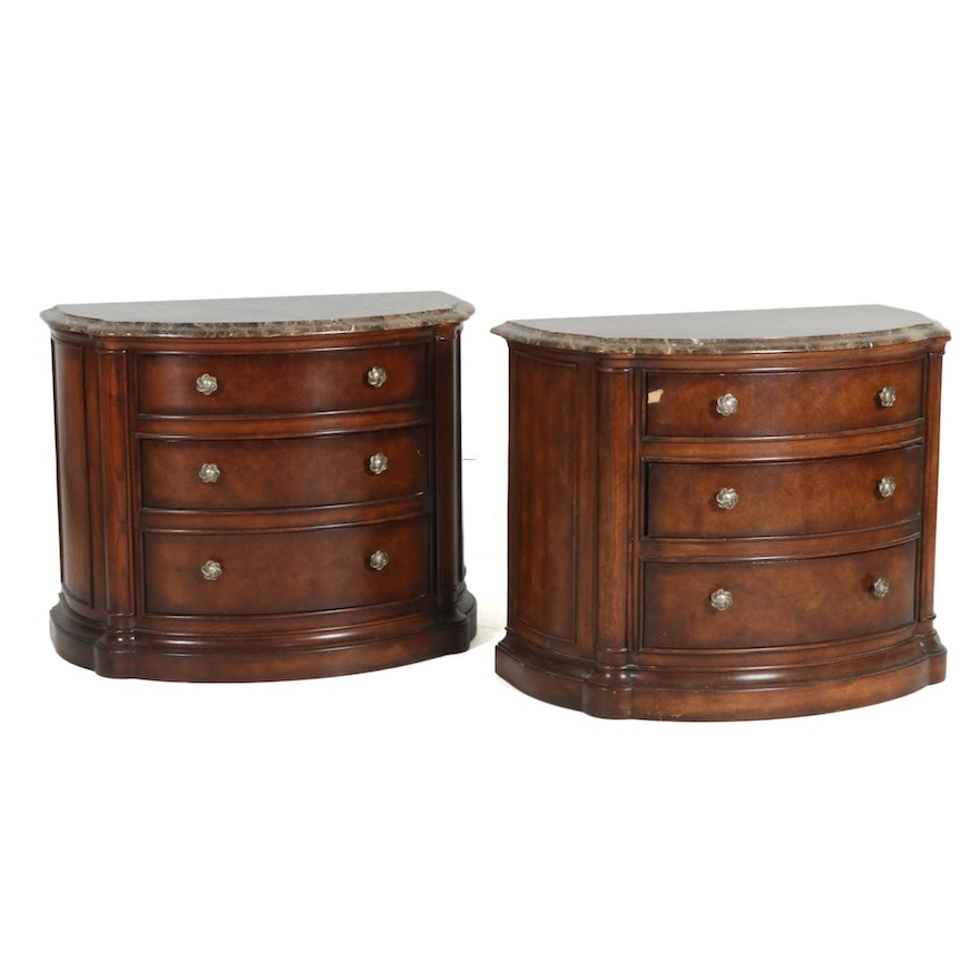 Pair of Henredon Marble Top Bombé Bedside Chests, Late 20th Century