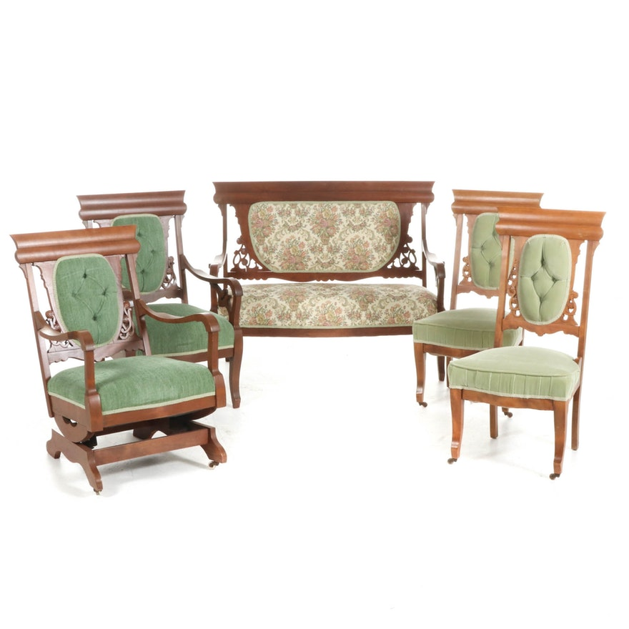 Victorian Eastlake Walnut Upholstered Settee, Armchairs and Side Chairs