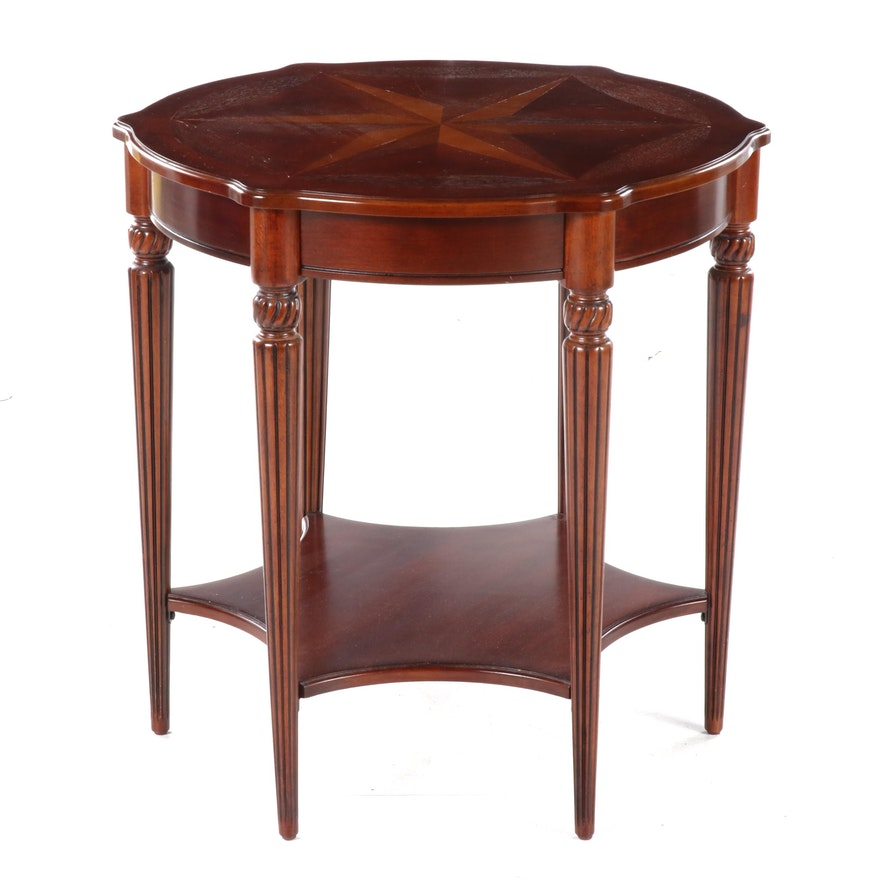 Regency Style Marquetry-Inlaid Mahogany Center Table, Late 20th Century