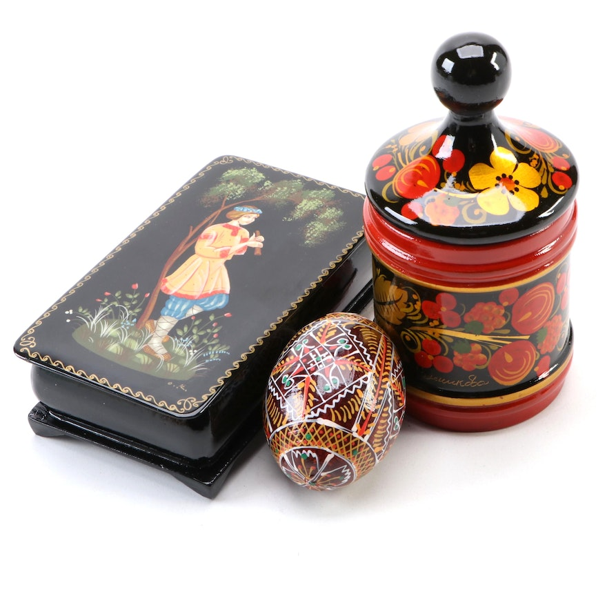 Russian and Ukrainian Artisan Lacquered Lidded Boxes with Painted Egg