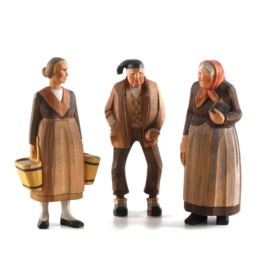 European Folk Art Hand-Carved Polychrome Wood Figurines, Mid-Late 20th Century