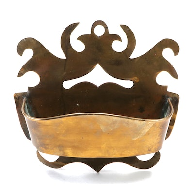 Brass Decorative Wall Planter, Mid to Late 20th Century