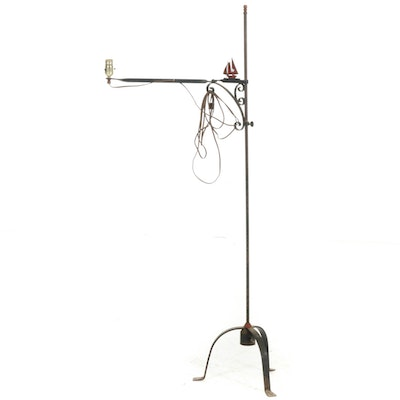 Wrought Iron Floor Lamp with Adjustable Arm, Early to Mid 20th Century