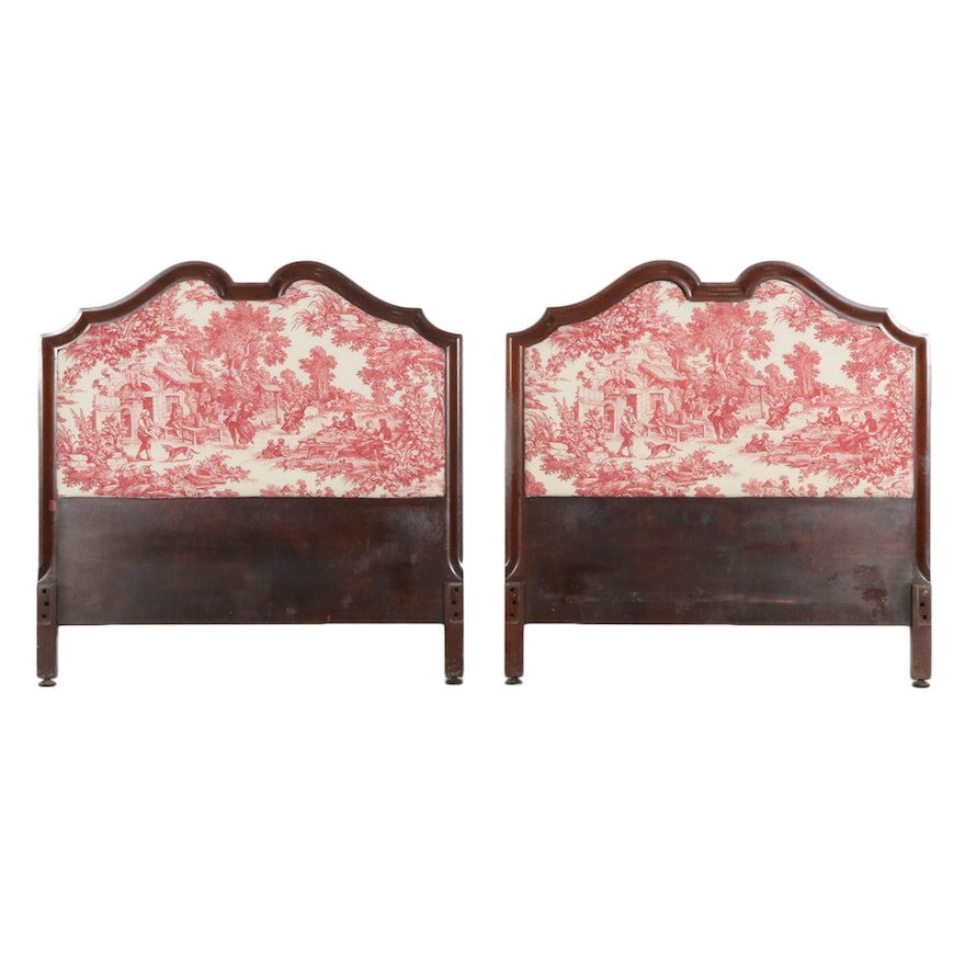 Pair of Toile-Upholstered Walnut Twin Bed Headboards, Early 20th Century