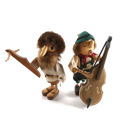 Anri Casy Boys Alpine Carved Wood Bowman and Bass Player Figurines