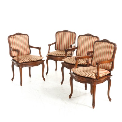 Four French Provincial Style Upholstered Armchairs, Mid to Late 20th Century