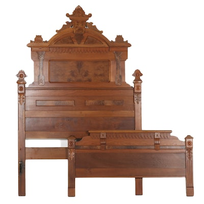 Victorian Eastlake Style Bed with Birdseye Maple Accents , Late 19th C.