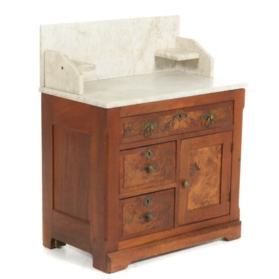 Victorian Walnut and Burl Walnut Marble-Top Washstand, Late 19th C.