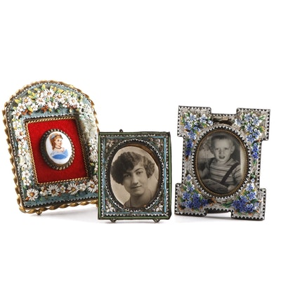 Glass Micro Mosaic Floral and Geometric Frames, Mid-20th Century