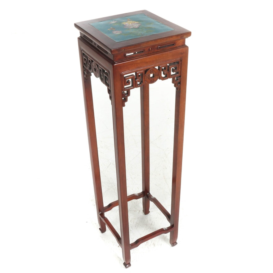 Chinese Cloisonné Enamel Top Wood Pedestal, 20th Century
