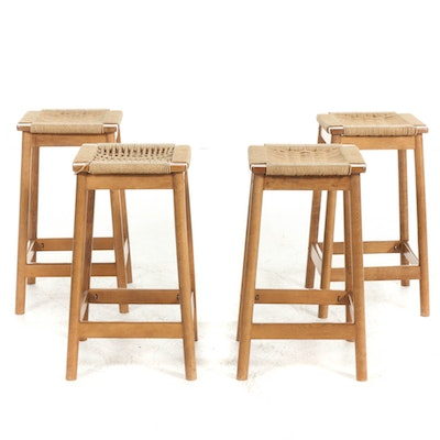 Danish Modern Style Woven Cord Seat Barstools, Late 20th Century