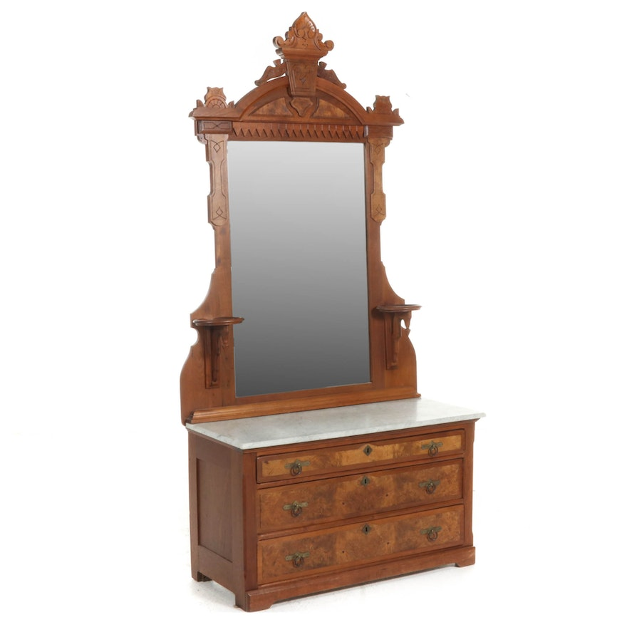 Victorian Eastlake Marble-Top Chest of Drawers with Mirror, Late 19th C.