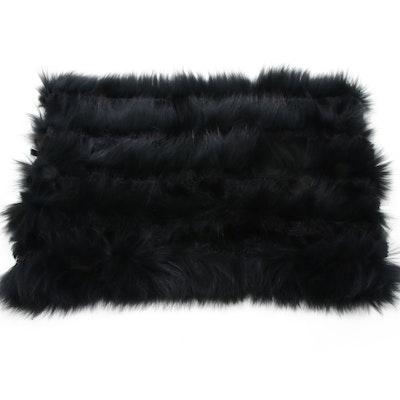 Linda Richards Luxury Black Fox Fur Knit Infinity Scarf