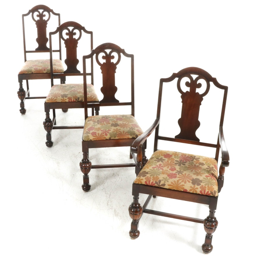 Four Jacobean Revival Upholstered Wood Dining Chairs, 20th Century