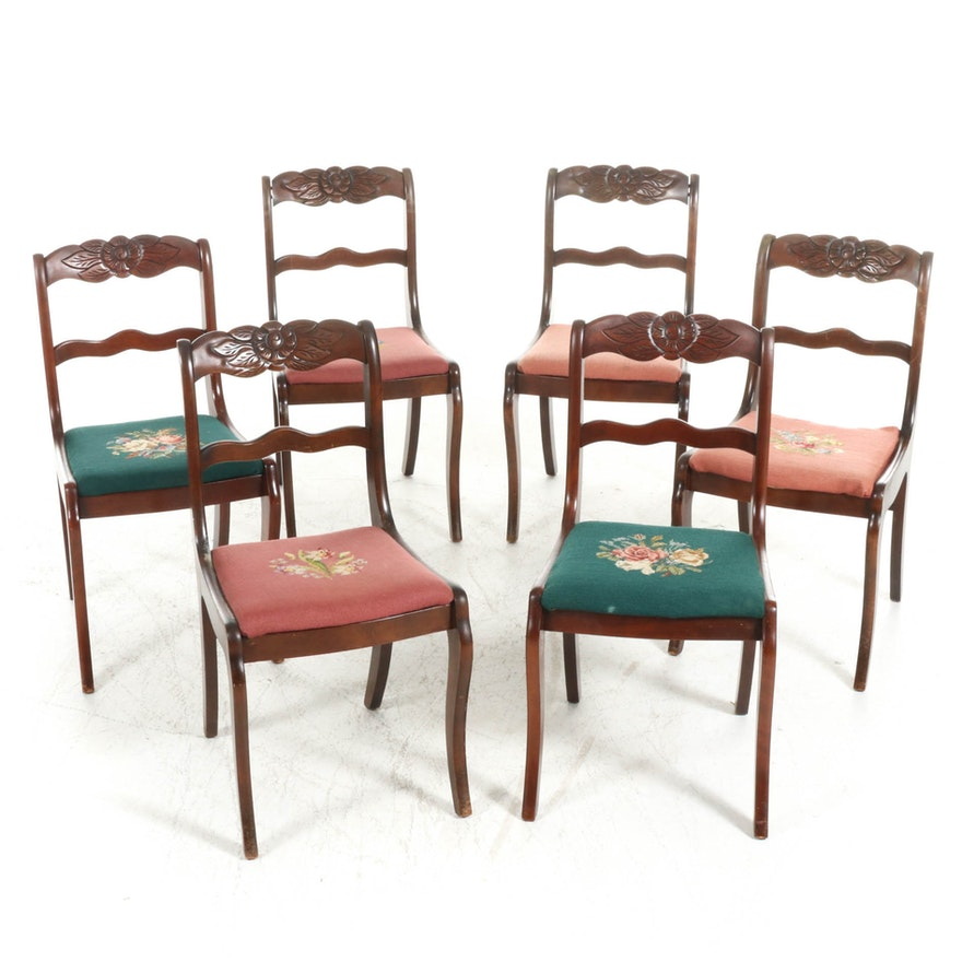 Tell City Mahogany-Stained Needlepoint Upholstered Dining Chairs