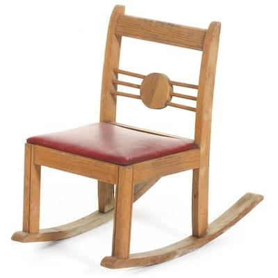 Hollidaysburg Woodcraft Co. Oak Child's Rocking Chair, 20th Century