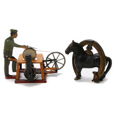 Arcade Buster Brown Horse Bank and Strauss Tin Litho Grinder Toy, Early 20th C.