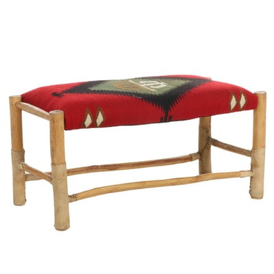 Kilim Upholstered Wood Bench
