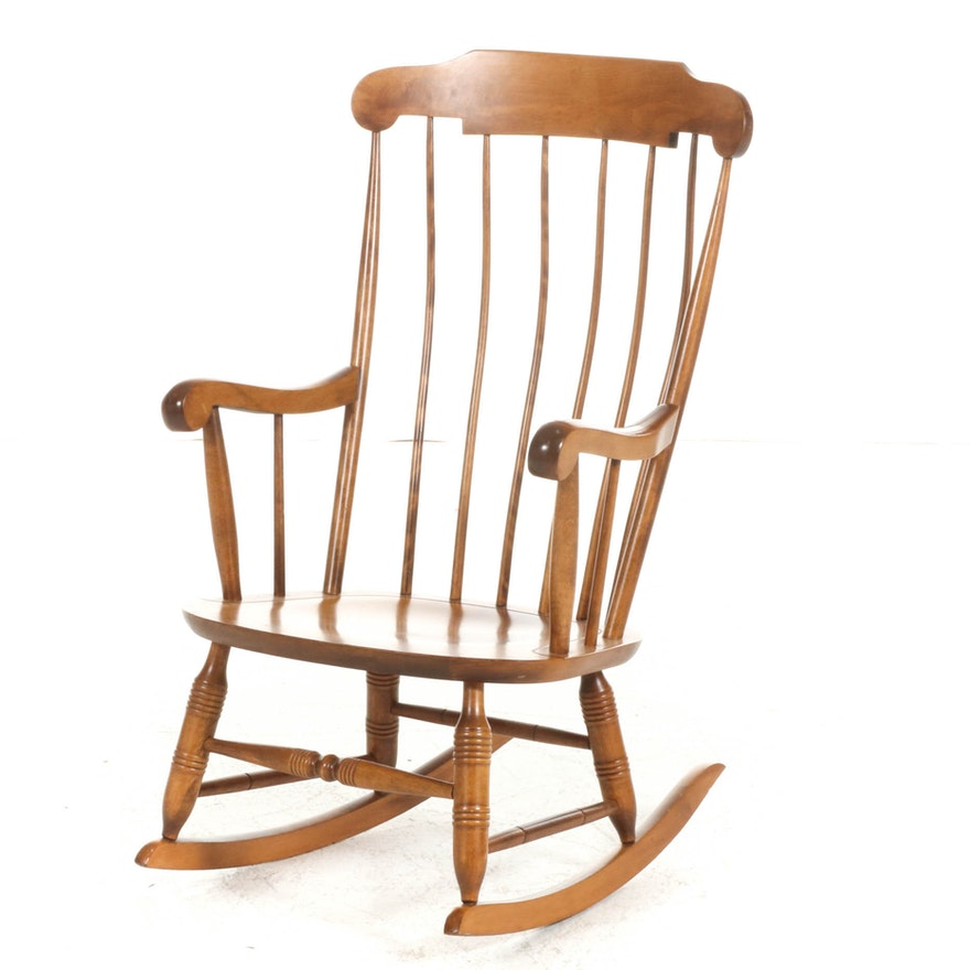 Nichols & Stone Co. New England Turned Maple Windsor Rocking Chair, 20th C.