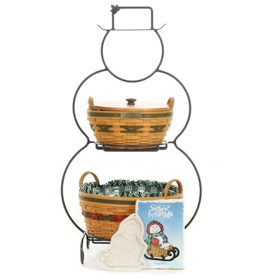Longaberger Foundry Collection Snowman Form Basket Rack and Baskets