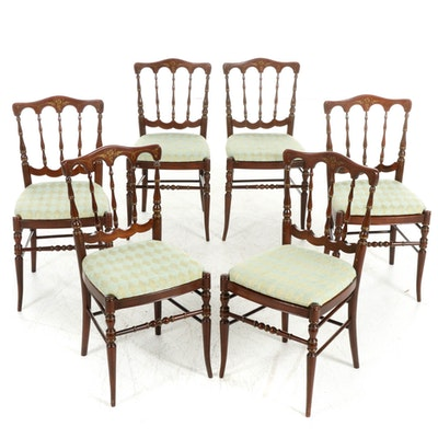 Tell City Chair Co. Stenciled Mahogany-Stained Dining Chairs, Mid-20th C.