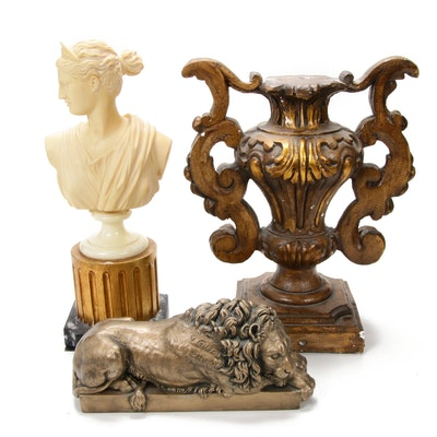 Classic Style Resting Lion, Bust of Diana, and Decorative Stand