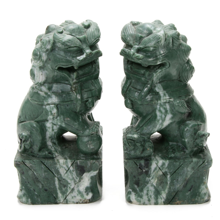 Chinese Carved Serpentine Male and Female Guardian Lion Figures