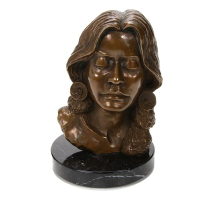 Cast Bronze Portrait Bust of a Woman