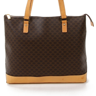 Celine Tote Bag in Macadam Canvas and Vachetta Leather
