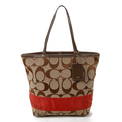Coach Signature Stripe Canvas and Leather Tote