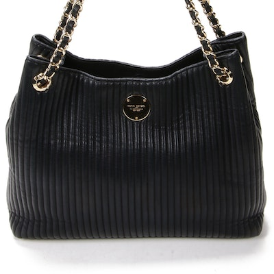 Henri Bendel Chain Strap Tote in Quilted Black Leather