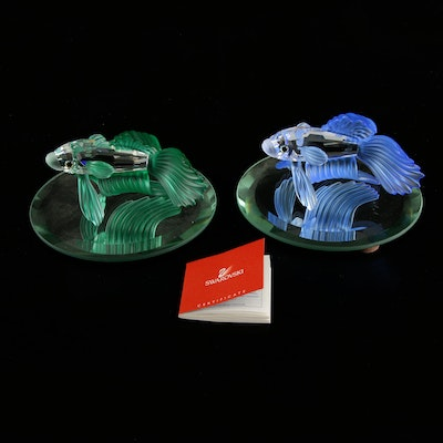 "Swarovski Crystal ""Siamese Fighting Fish"" Figurines on Mirrored Stands"