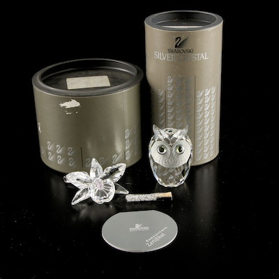 Swarovski Crystal-Filled Vial, Orchid Flower, and Owl Figurines